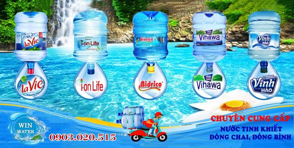 Nước khoángLavie, nước tinh khiết Vĩnh Hảo, nước tinh khiết Vihawa, Bidrico, I-on life, Aquafina…