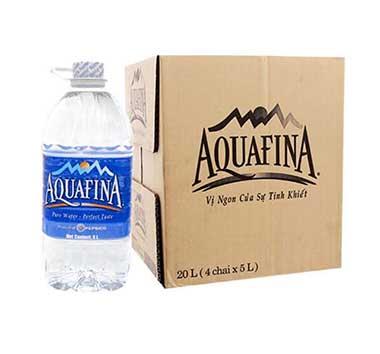 Nước tinh khiếtAquafina chai 5L đóng thùng 4 chai thuận tiện sử dụng