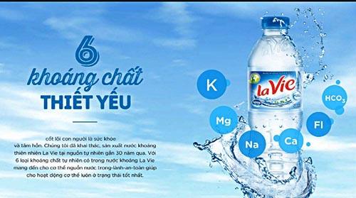 Nước khoáng Lavie chứa nhiều khoáng chất rất tốt cho sức khỏe người dùng