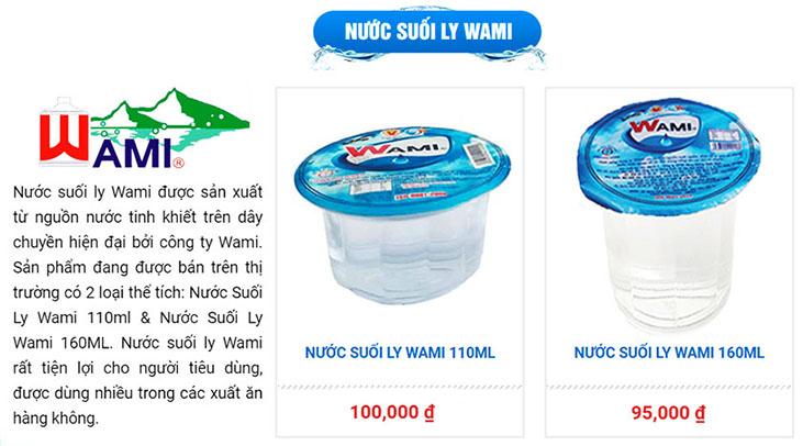 Giá bán nước suối ly Wami tại TPHCM