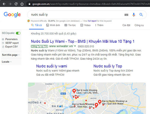 Tìm địa chỉ bán nước suối ly qua search Google ưu điểm là nhanh chóng và có rất nhiều sự lựa chọn